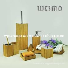 Ensemble de bain en bambou carré avec pièces métalliques (WBB0303A)