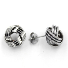 Silver Plated Stainless Steel Jewelry Set Knot Stud Fashion Earrings