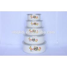 carbon steel enamel coating red cute ice bowl sets & PE lids