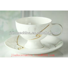 new design golden line good quality porcelain bone china cup and saucer