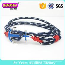 Bracelet d'ancre nautique de corde cirée faite sur commande, bracelet noué de bracelet de corde de bracelet, bijoux de corde de bracelet de corde de voile nautique fait à la main