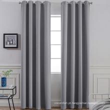 Cortinas escuras sólidas cinza com ilhó