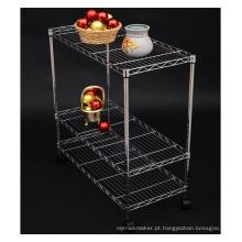 Cromo removível metal home cozinha fio carrinho (LD753590A3CW)