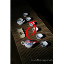 Azul e branco porcelana pintado à mão de cerâmica Oriente Médio estilo chá conjunto para venda quente