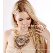 2017 Retro diamond Indian Vintage Tessal Coin Drop Necklace Layered Chunky Gold Silver Necklace Women Jewelry
