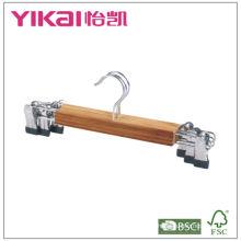 Conjunto de 3pcs cabide de saia de bambu plana com clipes de metal