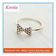 NOUVEAU fashion crystal bowknot fine anneau d'or pour femmes