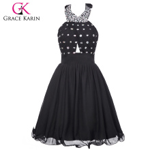Grace Karin Ladies Halter Chiffon Short Cheap Black Japanese Prom Dress CL6018