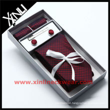 Caixa de presente de gravata de seda inferior quadrada de bolso