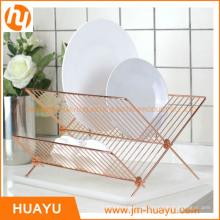 Rack de plato de madera de acero inoxidable de la casa X para accesorios de cocina (HY-W003)