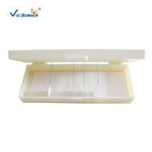 Caja de almacenamiento de plástico para portaobjetos de microscopio
