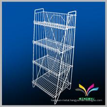 Heavy duty 3-4 tiers metal wire storage racks supermarket display shelf
