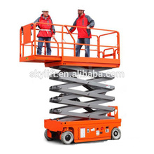 Self propelled scissor lift used for cleaning windows