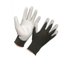 White Grey Black Knit Nylon PU Gloves