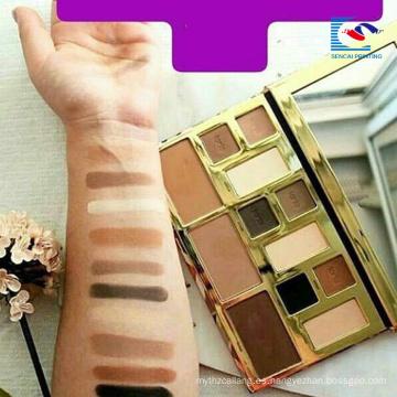 Paleta de sombras de ojos cosmética del oro modificado para requisitos particulares de la cartulina con el cepillo del espejo