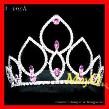 Розовый хрустальный титановый тиара, корона маленькой принцессы