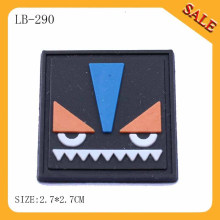 LB290 Square logo embossed rubber leather patch/pvc label for luggage