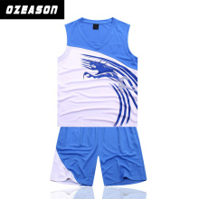 Ozeason Full Dye Sublimation Sky Blue Eco-Friendly Basketball Jersey