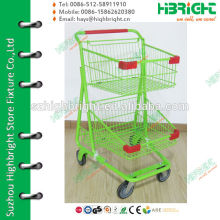 green double layers steel supermarket shopping trolley