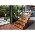 Solid wood walnut treads indoor floating staircase stair