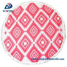 China wholesale 100% cotton velour custom print round beach towel