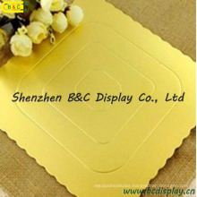 Square Shape with Flower Edged Double Gold Wrapped Cake Boards with SGS (B&C-K056)