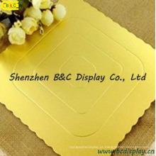 A forma quadrada com ouro dobro afiado flor envolveu placas do bolo com GV (B & C-K056)