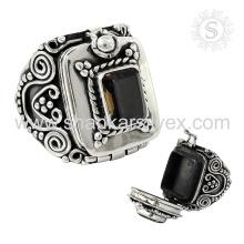 Magical Box Bijoux en pierres précieuses Bague en quartz fumé en gros Bijoux en argent Bague indienne