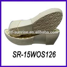 Mujer cuña pu zapato único zapato único fábrica madera zapato único
