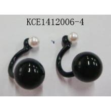 Black Stone Earrings with Metal Retail