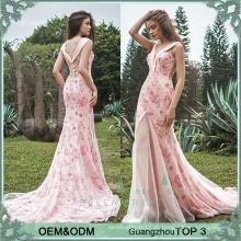 Lange Kittel-Designs rosa Abendkleid Fisch schneiden Partei Kleid Kleider Abend tragen