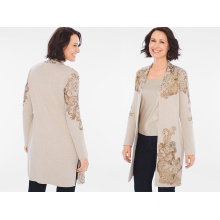 Ladies Long Sweater Scroll-Lace Sweater