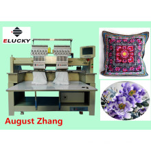 Elucky 15 colors high speed two heads embroidery machine for cap embroidery