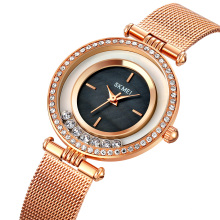 SKMEI 1785 Women's Stainless Steel Crystal-Accented Quartz Watch with Alloy Strap