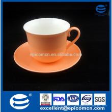 Благодать чая посуда пластины, благодать чая посуда чашки чая, благодать чая посуда, яркий оранжевый цвет застекленные новые кости Китай чашка кофе