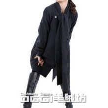 Modern knitted pure cashmere casual cardigen with scarf