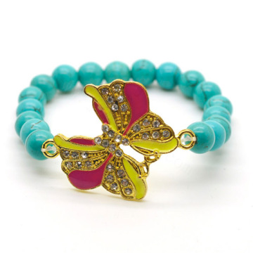 Turquoise 8MM Round Beads Stretch Gemstone Bracelet with Diamante alloy Butterfly Piece