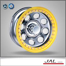 17 inch 8/165.1 yellow lip chrome finish 4x4 wheels 17x8