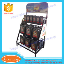 Exhibición promocional cestas metálicas aceite lubricante display stand
