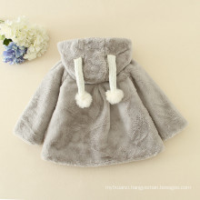Christmas 2016 soft furry coats children adorable grey / pink/ creamy jackets girls winter warm clothess fashion Halloween