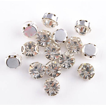 Crystal Glass Rhinestone Sew on Silver Plated