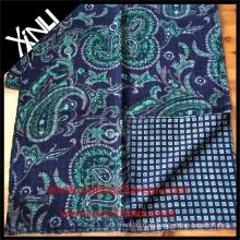 Paisley geométrica reversible bufanda impresa para hombres en azul verde traje de negocios bufanda