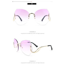 fashion women sunglasses in pink tint beautiful vintage oversize rimless glasses pink frame sunglasses