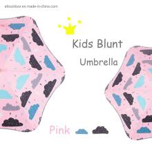 Reflective Strip Blunt Umbrella Black Coating Round Corner Kids Straight Umbrella