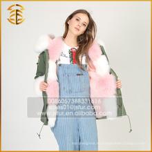 China fabricante de servicio de OEM chaqueta de abrigo para las mujeres Fox abrigo de piel Parka