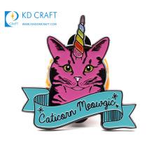 Unique design custom metal stamping colorful enamel glitter cute animal cat badge for promotion
