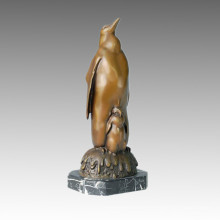 Animal Bronze Sculpture Penguin Father-Son Deco Brass Statue Tpal-070