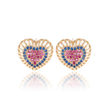 25349 xuping elegante 18k cor do ouro em forma de coração design brincos de zircão sintético