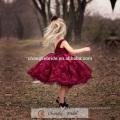 Alta qualidade Bergundy Flower Girl Vestido Crianças Lace Designs Party Dress Kids 2016