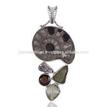 Pyarite Ammonite Smoky Meteorite Moldavite & Green Amethyst Silver Pendant